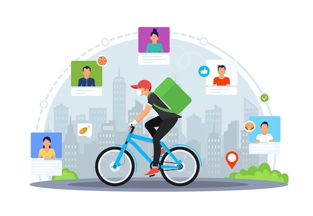 Kurier in schutzmaske und medizinischen handschuhen am fahrrad
