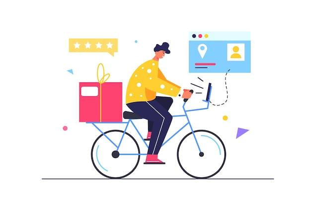 Kurier kerl liefert waren auf fahrrad, waren in box, virtuelle bildschirme