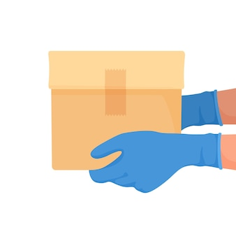 Kurier lieferte box mit handschuhen an den händen. lebensmittellieferung in quarantäne. vektorillustration