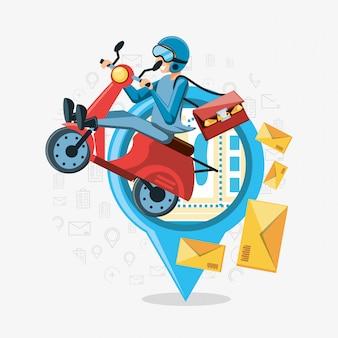 Kurier mann der logistikdienstleistung im motorrad