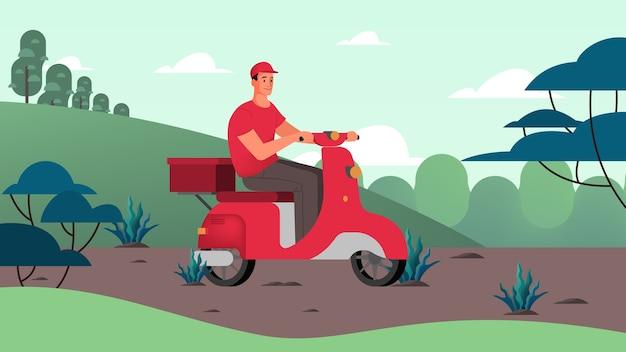 Kurier mit box auf moped. person in uniform auf roller. lieferservice . bestellen sie im internet. in den warenkorb legen, mit karte bezahlen und auf kurier auf moped warten.