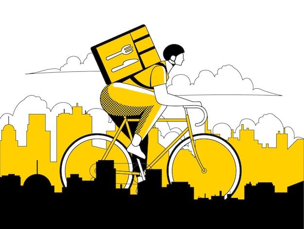 Kurier- oder lieferbote auf fahrradfahren auf stadtlandschaftssilhouette in schwarzen und gelben farben