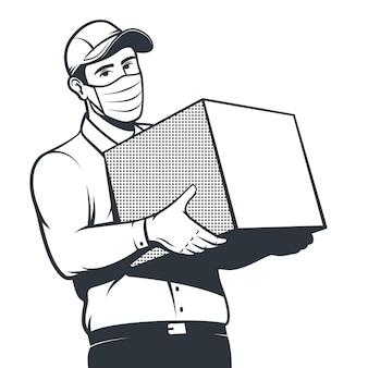 Kurier während einer pandemie liefert die box