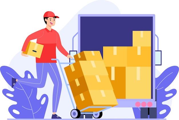 Kurierbeamte übertragen waren auf lastwagen, um an kunden geliefert zu werden, modernes designkonzept für flache illustrationen für webseiten oder hintergründe