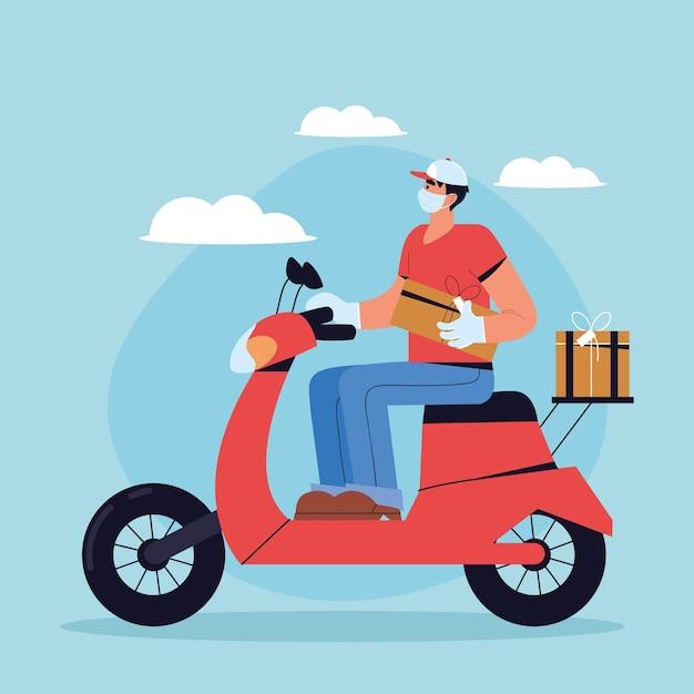 Kuriermann, der gesichtsmaske trägt und einen roller mit kisten fährt