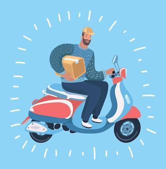 Kuriermann sendet bestellung mit motorradlieferung