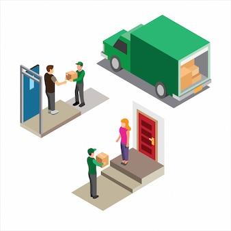 Kurierpaket lieferung, online-shop mit grüner uniform isometrische illustration