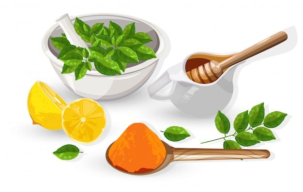 Kurkumapulver und honigtopf