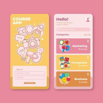 Kurs-app-vorlagensatz