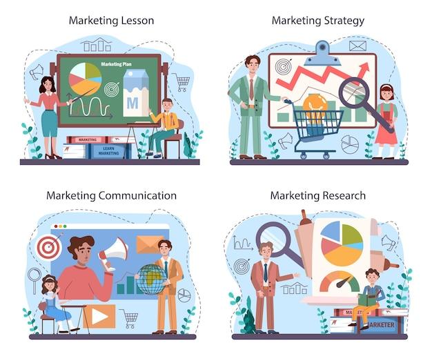 Kurs der marketing-ausbildungsschule gesetzt. lektion zur geschäftsförderung und kundenkommunikation. studenten machen marktforschung, marktanalyse. flache vektorillustration