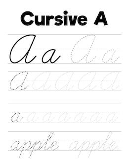 Kursive handschrift übungsblätter für kinder