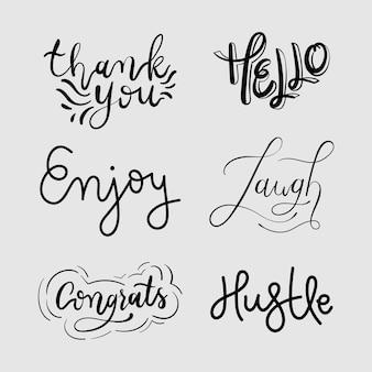 Kursive lustige wörter typografie set