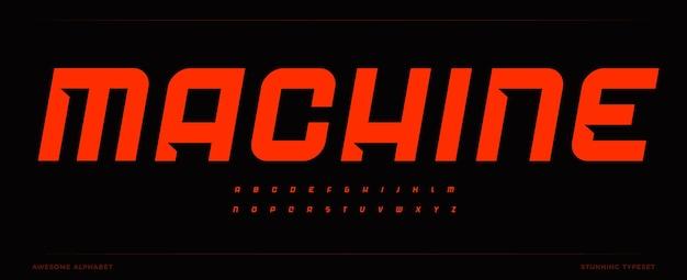 Kursives fettes alphabet mit moderner abschrägung in buchstaben, dynamischer überschrift und starkem logo für