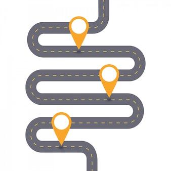 Kurvenreiche asphaltstraße schablonendiagramm drei schritte.