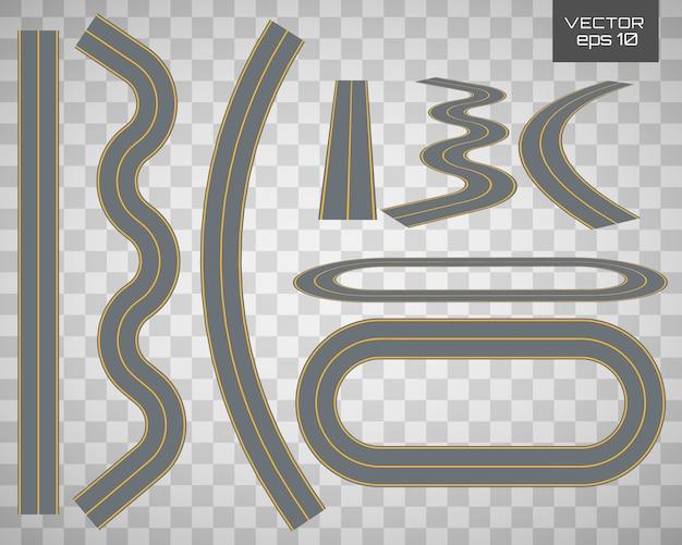 Kurvenreiche kurvenreiche straße oder autobahn mit markierungen.