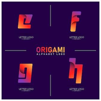 Kurvige origami-stil buntes efgh-alphabet-logo mit farbverlauf