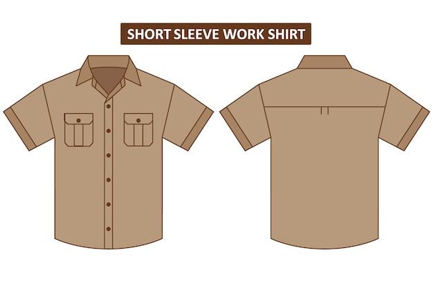 Kurzärmliges arbeitshemd mit zwei brusttaschen