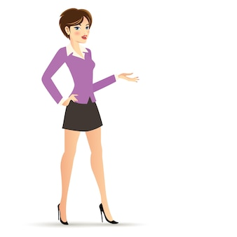 Kurzes haar geschäftsfrau in der violetten und schwarzen kleidung cartoon-figur isoliert
