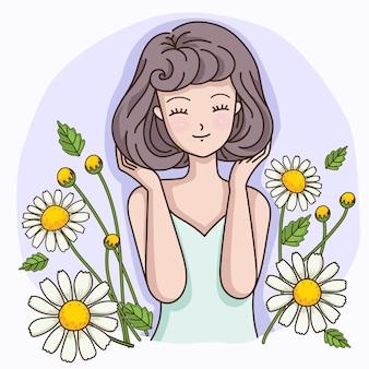 Kurzhaarige frau mit dem duft von kamillenblüten