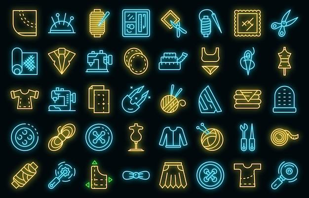 Kurzwaren icons set vektor neon