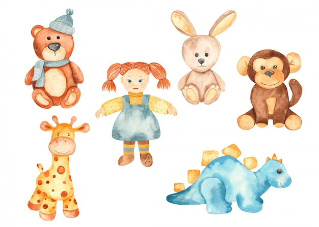 Kuscheltiere, tiere und puppe, plüschhase, teddybär, giraffe, affe, dinosaurier