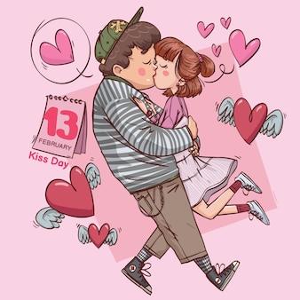 Kuss tag super süße liebe fröhlich romantisch valentinstag paar dating geschenk hand gezeichnet vollfarbillustration