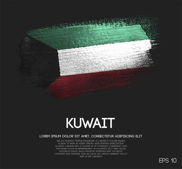 Kuwait-flagge aus glitter sparkle pinselfarbe