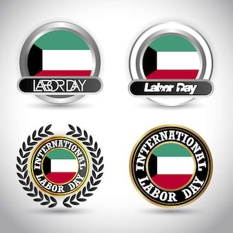 Kuwait-flagge mit arbeitstagesdesignvektor