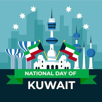 Kuwait nationalfeiertag im flachen design