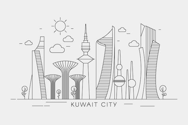 Kuwait skyline im linearen stil
