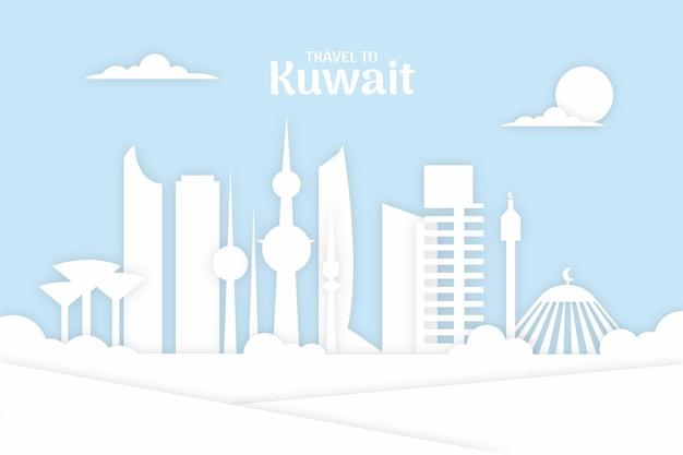 Kuwait skyline im papierstil
