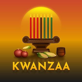 Kwanzaa ereignisillustration mit kandelabern
