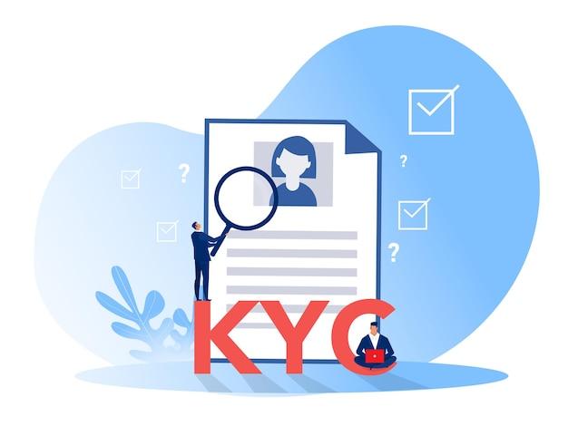 Kyc oder kennen sie ihren kunden mit einem geschäft, das die identität seines kundenkonzepts bei den zukünftigen partnern durch eine lupe überprüft