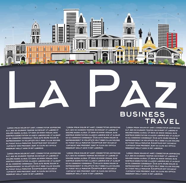 La paz bolivien city skyline mit farbgebäuden, blauem himmel und textfreiraum. illustration
