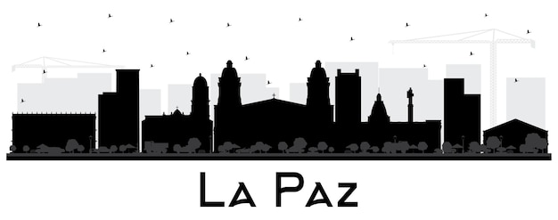 La paz bolivien city skyline silhouette mit schwarzen gebäuden, isoliert auf weiss. vektor-illustration. geschäftsreise- und tourismuskonzept mit historischer architektur. la paz-stadtbild mit sehenswürdigkeiten.