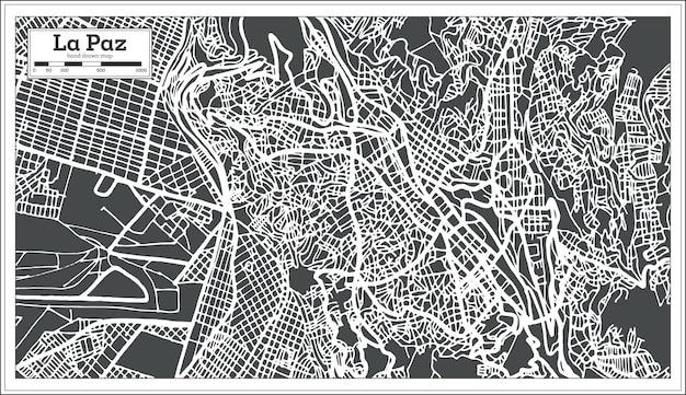 La paz bolivien stadtplan im retro-stil. vektor-illustration. übersichtskarte.