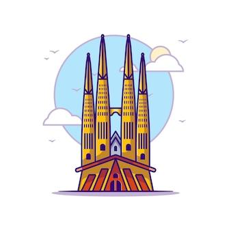 La sagrada familia illustrationen. wahrzeichen konzept weiß isoliert. flacher cartoon-stil