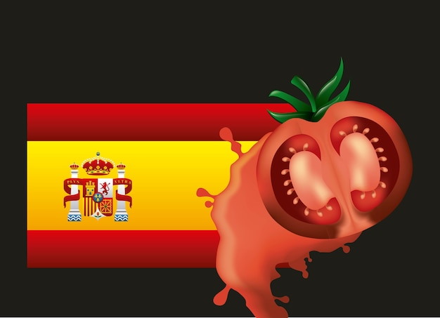 La tomatina flagge spanien rot gequetscht tomate