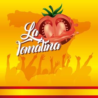 La tomatina gelben hintergrund festival menschen hände hoch