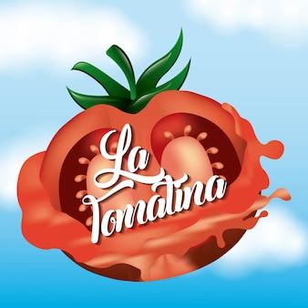 La tomatina halbe tomate spritzte glückliches festival