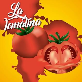 La tomatina zwei tomaten zerschlagen fest werfen