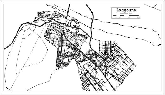 Laayoune sahara stadtplan in schwarz-weiß-farbe