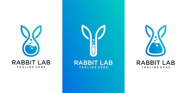 Lab rabbit logo template design vector