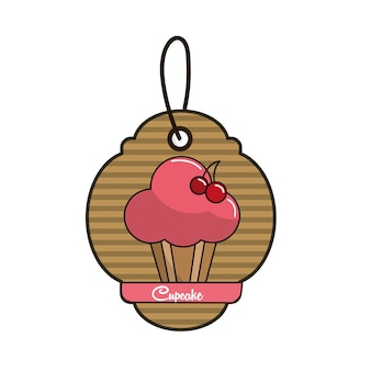 Label cup cake icon mit köstlichen kirschen