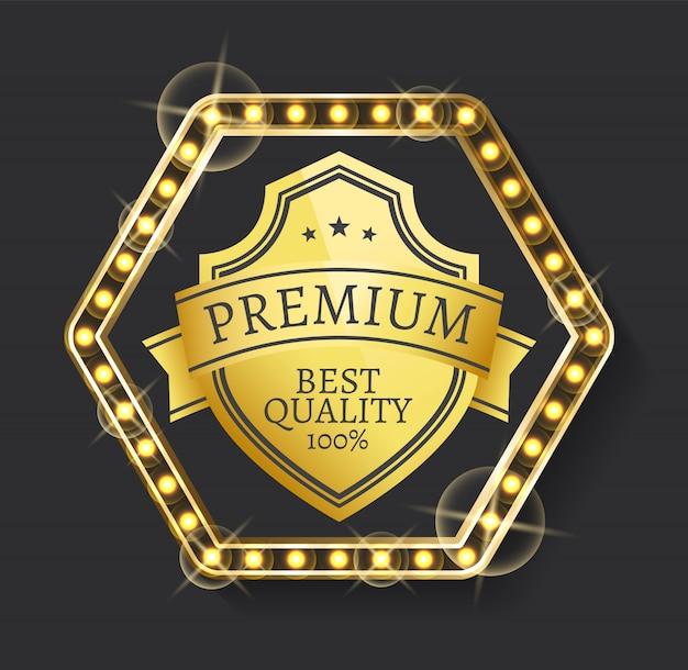Label für premium-produkt, hohe qualität