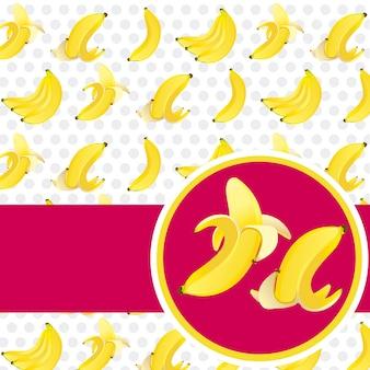 Label geschälte banane und schälen auf bananen hintergrundmuster