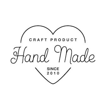 Label oder logo mit schriftzug handgemacht. flache vektorgrafiken. modernes und stilvolles abzeichen. dünne linie inschrift handgefertigt, mit liebe gemacht, handwerksprodukt auf weiß.
