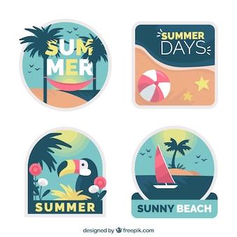 Label-sammlung des sommers nette im flachen design