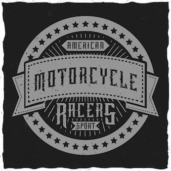 Label / t-shirt-design zum thema motorrad.