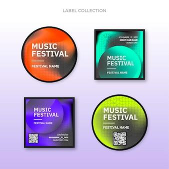 Labels für musikfestivals mit farbverlauf